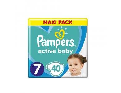 Pampers Active Baby Πάνες Maxi Pack Μέγεθος 7 (15+ kg), 40τμχ