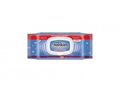 Wet Hankies Clean & Protect Antibacterial, Αντιβακτηριδιακά Μαντηλάκια με Αιθυλική Αλκοόλη, 72τμχ (1+1 Δωρο)